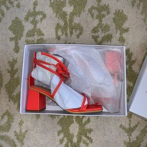 Top shop red orange chunky block heel